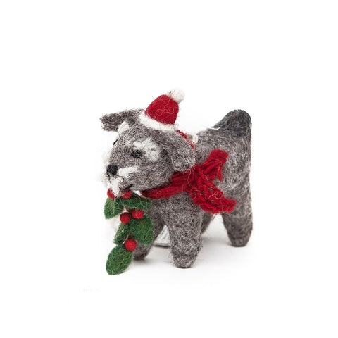 Amica Fair Trade Felt Christmas Schnauzer Dog with Holly
