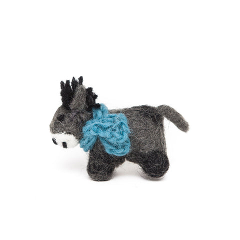 Amica Fair Trade Felt Mini Donkey with Blue Scarf