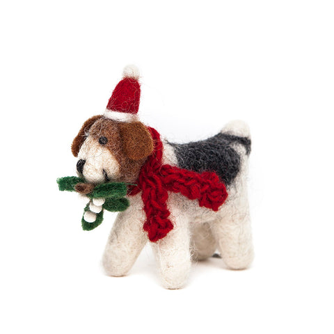 Amica Fair Trade Fox Terrier with Mistletoe