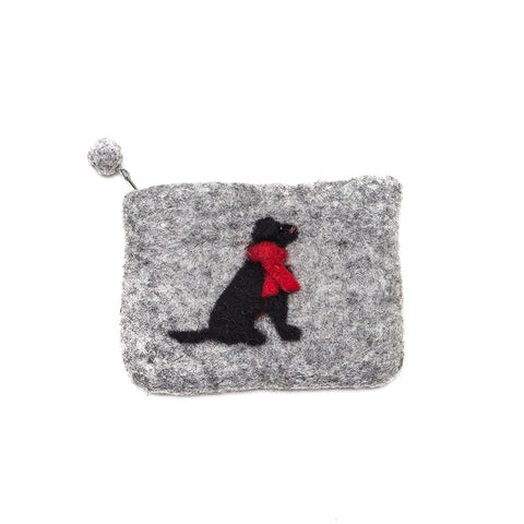 Amica Felt Black Labrador Zip Purse
