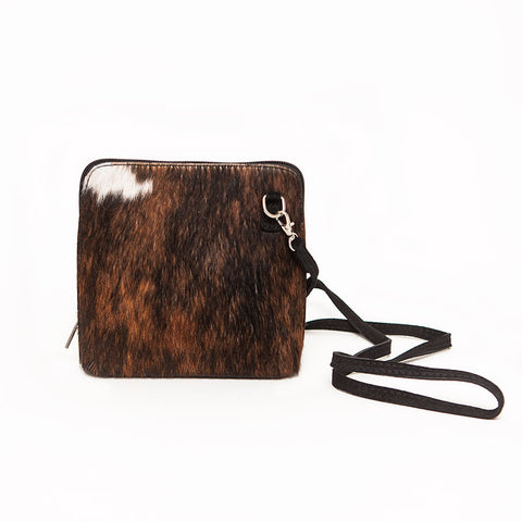 Genuine Leather Small Shoulder Bag in Faux Cow Hide/Black Suede