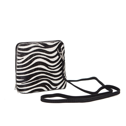 Genuine Leather Small Shoulder Bag in Faux Zebra/Black Suede