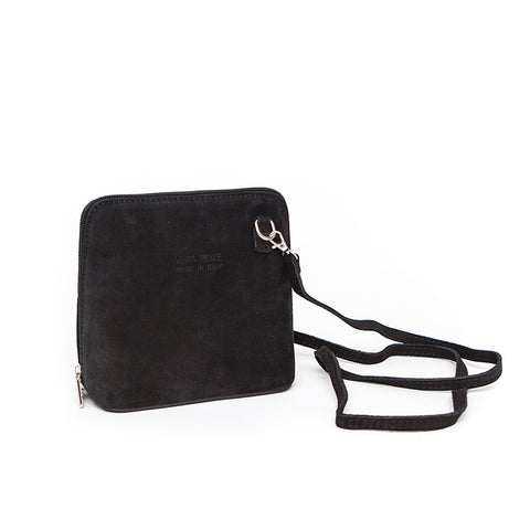 Genuine Suede Small Shoulder Bag in Black