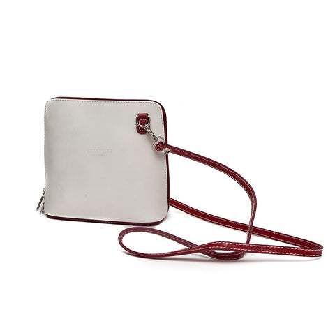 Genuine Leather Small Shoulder Bag in Cream with Red Trim