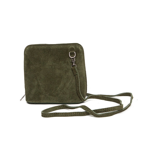 Genuine Suede Small Shoulder Bag in Moss Green