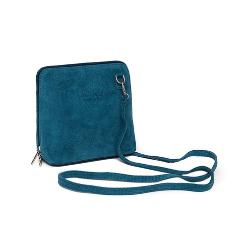 Genuine Suede Small Shoulder Bag in Teal