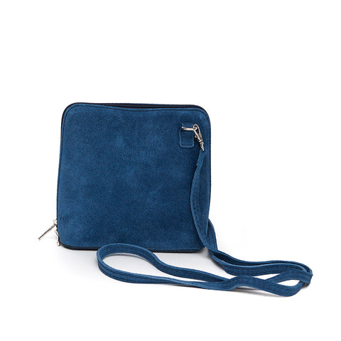 Genuine Suede Small Shoulder Bag in Denim Blue