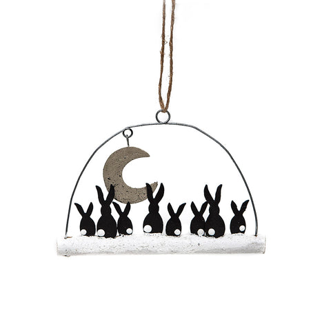 Shoeless Joe Moon Gazing Rabbits Decoration