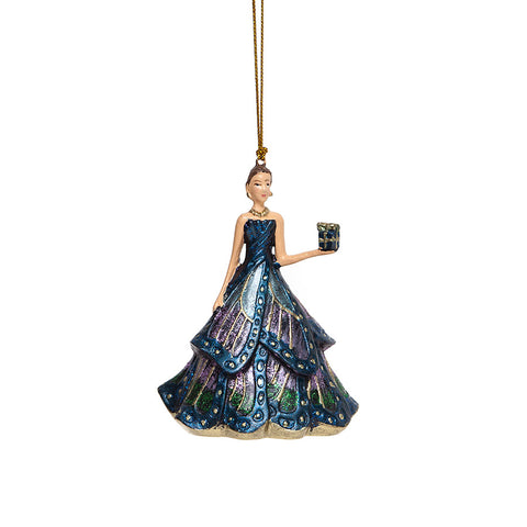 Shoeless Joe Elegant Blue Lady with Gift Christmas Decoration