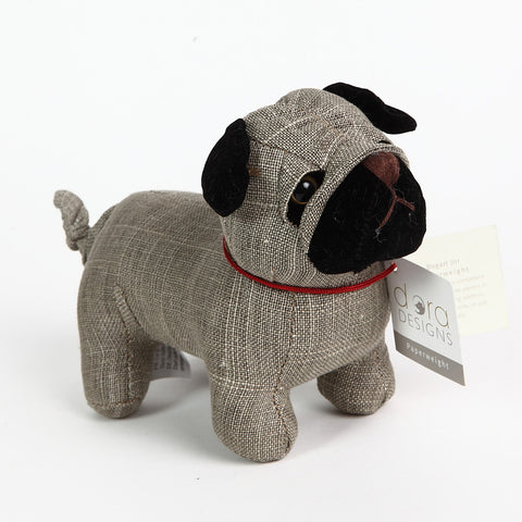 Gorgeous Linen Pug Paperweight from Dora Designs