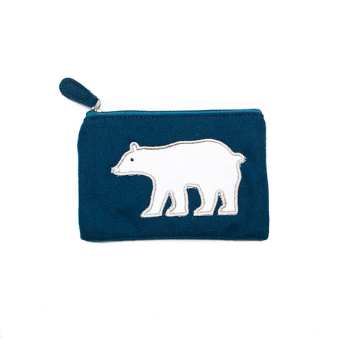 Just Trade Teal Felt Purse with Polar Bear
