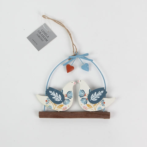 Gisela Graham Wooden Lovebirds on Log Hanging Decoration