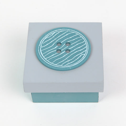 Teal/Grey Button Box Lid On
