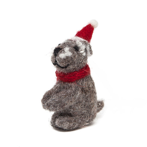 Amica Fair Trade Felt Christmas Sitting Schnauzer Decoration