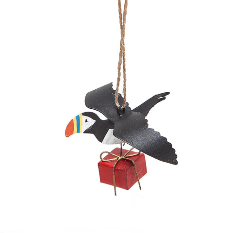Shoeless Joe Puffin with Christmas Gift Decoration