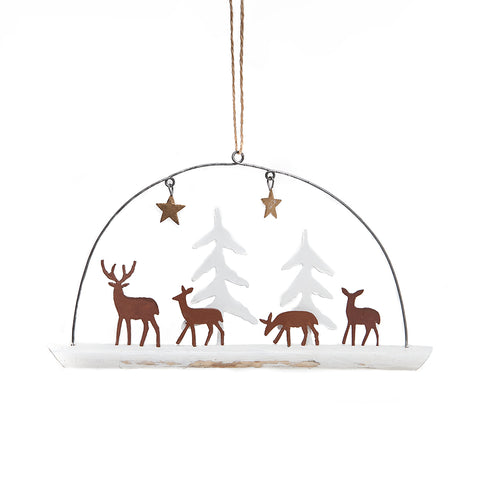 Shoeless Joe Deer Family with White Trees Decoration