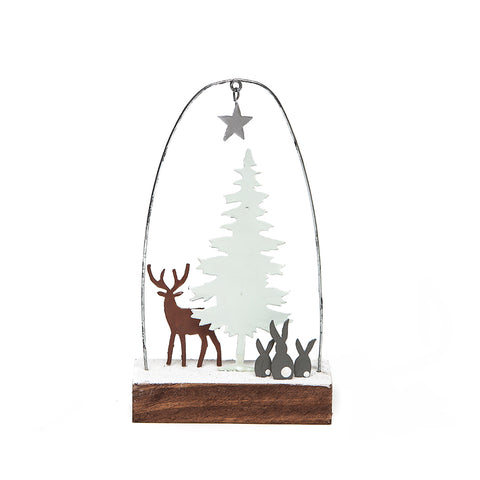Shoeless Joe Deer with White Trees Decoration