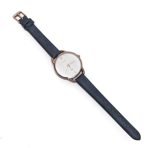 Anaii Malia Ladies Textured Face Rose Gold Watch with Blue-Grey Strap