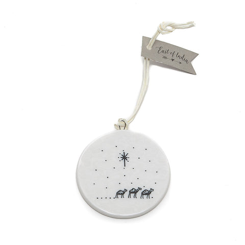 East of India Ceramic 'Away in a Manger' Flat Bauble back