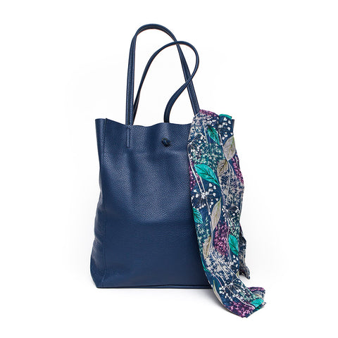 Italian Navy Blue Leather Slouchy Bag