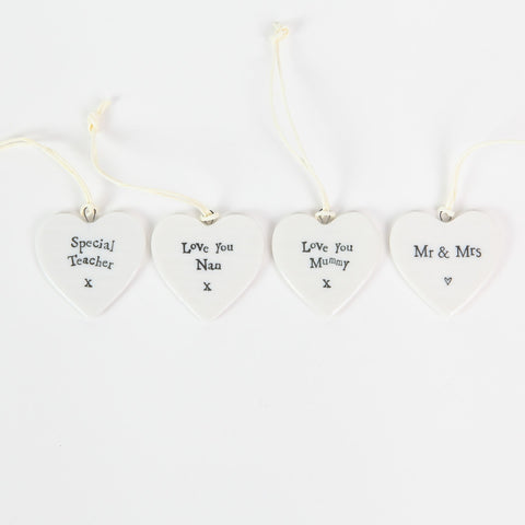 East of India Mini Ceramic Sentiment Hearts