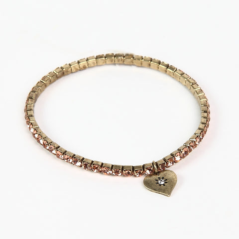 Lovett Peach Crystal Tennis Bracelet
