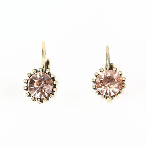 Lovett Peach Swarovski Crystal on Antique Brass Finish French Wire Earrings