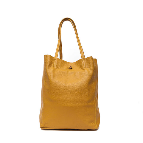 Italian Mustard Leather Soft Slouchy Bag