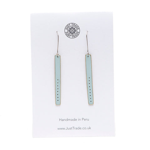 Just Trade Duck Egg Blue Elegant Bar Drop Earrings