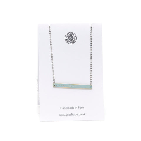 Just Trade Elegant Duck Egg Blue Bar Necklace