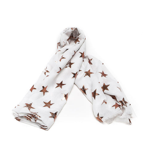 White Scarf with Gold Foil Stars