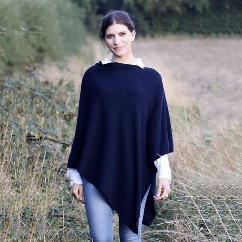 Italian Wool/Cashmere Mix Midnight Blue  Poncho from Cadenza