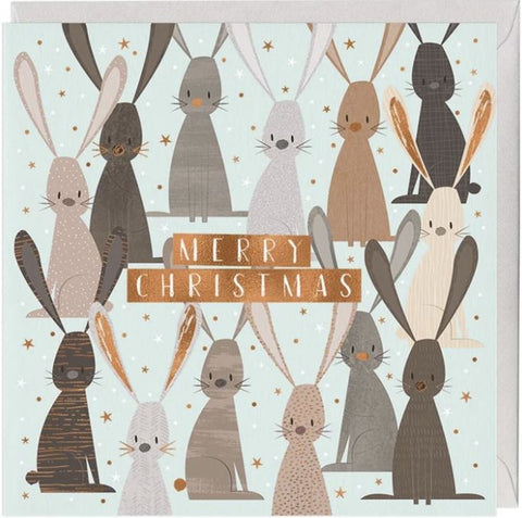 Festive Bunnies Christmas Card