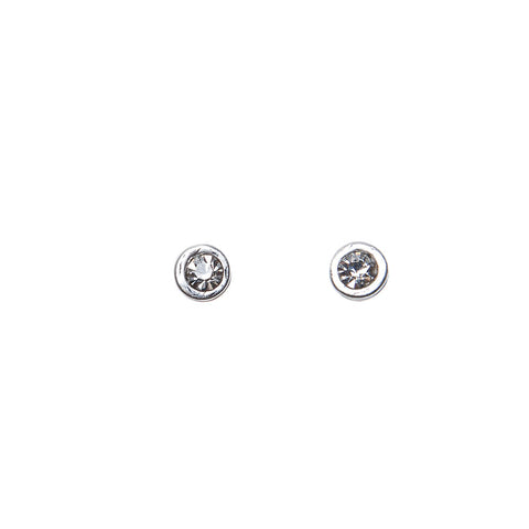 Pom Simple Crystal Studs in Worn Silver Earrings