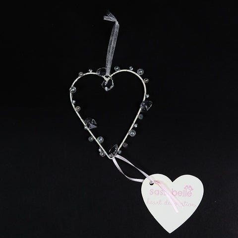 Pretty Wire Heart with Crystal Beads