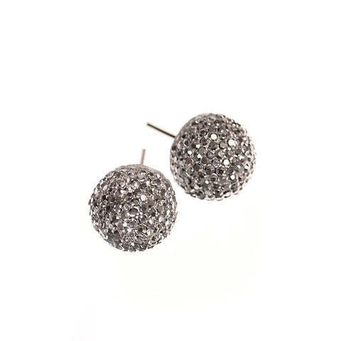 Hot Tomato Silver Demi Sparkle Ball Earrings
