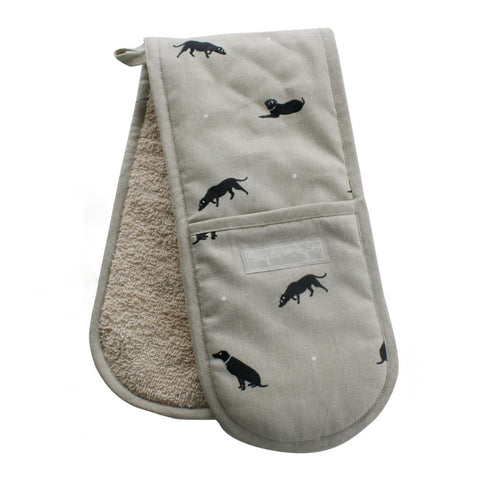 Sophie Allport Black Labrador Double Oven Gloves