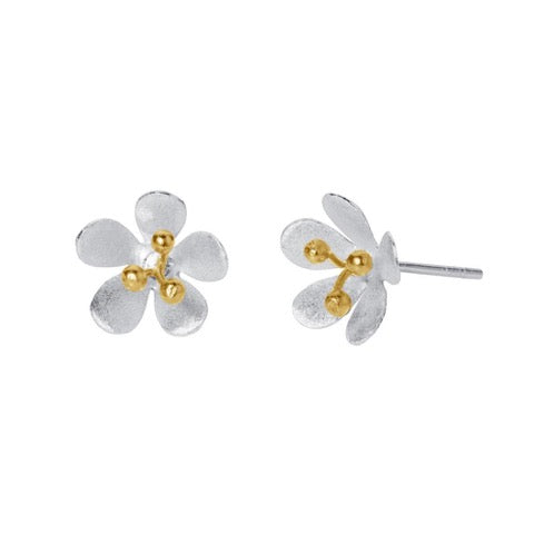 Christin Ranger Satin Daisy Silver and Gold Flower Stud Earrings