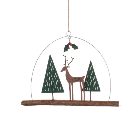 Shoeless Joe Chic Deer on Twig Hanging Decoration