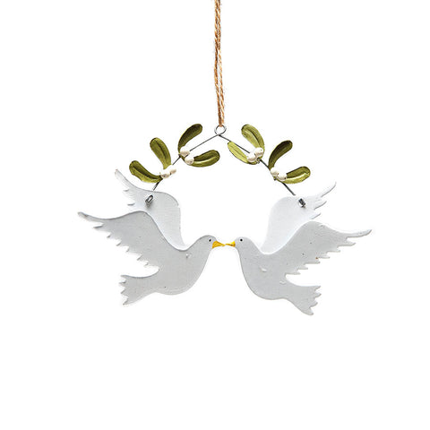 Shoeless Joe Doves and Mistletoe Hanging Decoration