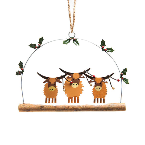 Shoeless Joe Highland Coos with Baubles  Hanging Decoration
