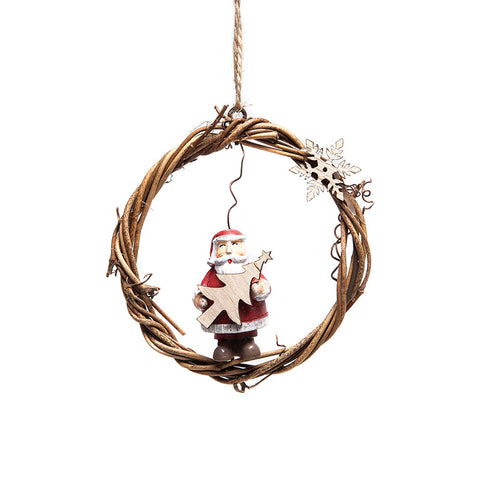 Shoeless Joe Mini Wreath Santa Hanging Decoration