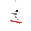 Shoeless Joe Seagull Skateboard Dudes on red board Hanging Decoration