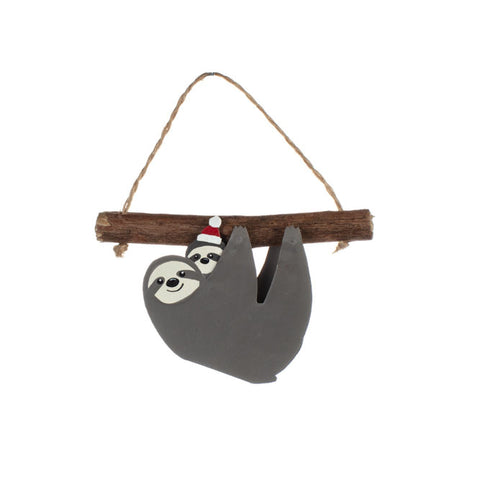 Shoeless Joe Sloth and Xmas Baby Hanging Decoration