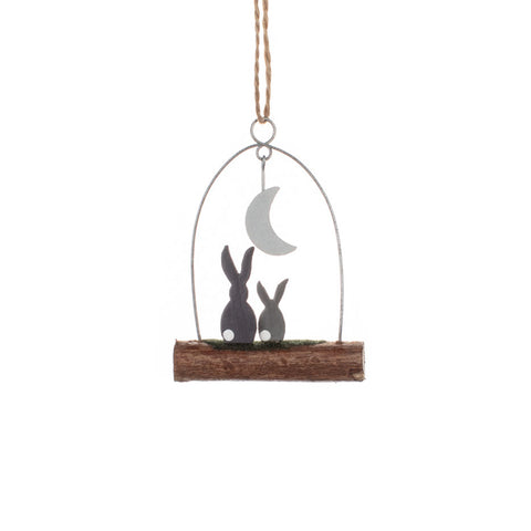 Shoeless Joe Small Moon Gazing Rabbits Hanging Decoration
