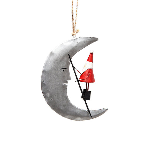 Shoeless Joe Tin Santa Climbing the Moon Hanging Decoration Side View