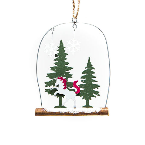 Shoeless Joe Unicorn in Fir Trees Hanging Decoration