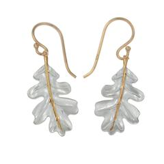 Christin Ranger Silver/Gold Oak Leaf Earrings