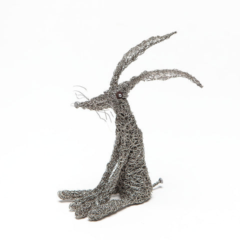 Small Knitted Wire Hare Sculpture by Sarah Jane Brown