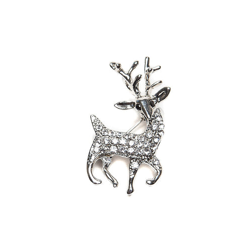 Sparkly Crystal Deer Brooch